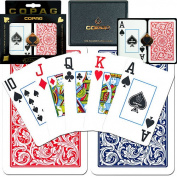 Trademark Poker Copagt Bridge Size Plastic Playing Cards and Dealer Kit