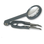 Carson Fish'n Grip 4x Magnifier with Precision Tweezers, Hook Cleaner, and Line Cutter