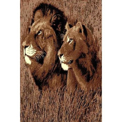 DonnieAnn Company African Adventure Lion and Li1ss Head Novelty Rug