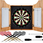 Trademark Games Professional Style Bevelled Wood Dart Cabinet with Board and Darts