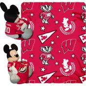 Disney NCAA Hugger Pillow and 100cm x 130cm Throw Set, Wisconsin Badgers