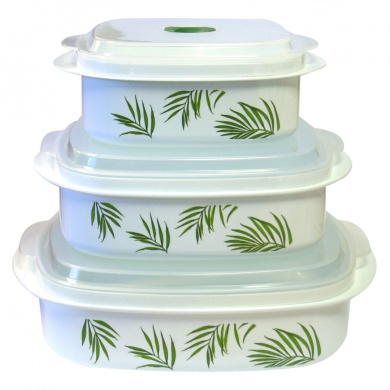 Reston Lloyd 20240 Corelle Coordinates 6 Piece Microwave Cookware-Storage Set - Bamboo Leaf