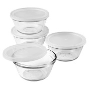 Anchor Hocking Set of 4 180mlGlass Custard Cups With Snap On Lids