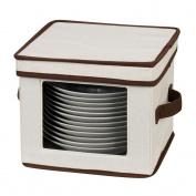 Storage and Organisation Dessert Plate/Bowl Chest Canvas with Trim