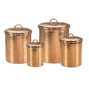 Old Dutch 843 Set of 4 Solid Copper Hammered Canisters 4Qt 2Qt 1.5Qt 1Qt