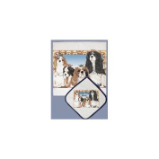 Pipsqueak Productions DP820 Dish Towel and Pot Holder Set - Cavalier King Charles