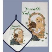 Pipsqueak Productions DP817 Dish Towel and Pot Holder Set - Labrador Mix