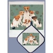 Pipsqueak Productions DP554 Dish Towel and Pot Holder Set - Jack Russell Terrier