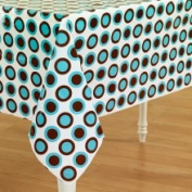 Hallmark 160408 Brown and Turquoise Dot Plastic Tablecover Bluebrown