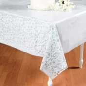 Oriental Trading Company 3/1103 Wedding Lace-Printed Tablecloth - Tableware & Table Covers