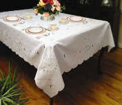 Violet Linen Rivierra Embroidered Design Tablecloth in White Size