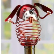 15.2cm Decorative Spring Red Wrought Iron Dog Figurine Wine Bottle Stopper