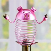 CC Home Furnishings 21328913 15.2cm Decorative Spring Pink Wrought Iron Bright Pig Figurine Wine Bottle