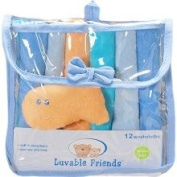 Luvable Friends 12 Washcloths In Bag With Bonus Toy