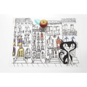 Kat in The City Placemat in Black Modern-Twist