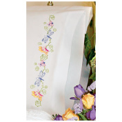 Dimensions 356036 Whimsical Butterflies Pillowcase Pair Stamped Embroidery-20 in. x 30 in.