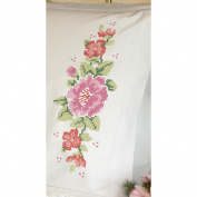 "Dimensions ""Pink Rose"" Pillowcase Pair Stamped Cross Stitch, 50cm x 80cm"