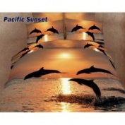 Dolce Mela Pacific Sunset Dolphins Duvet Cover Set Size