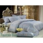 2 Decorate Inc DM448Q Percale Jacquard Queen Bedding 6PCs Egyptian Cotton Duvet Cover Set Fountain-Blue by Dolce Mela