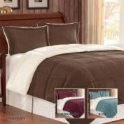 JLA Basic Monterey Corduroy Reverse to Berber Mini Comforter Set in Burgundy Size