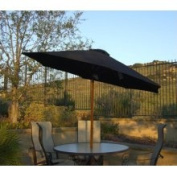 2.7m Outdoor Patio Umbrella with Hand Crank and Tilt - Black and Brown