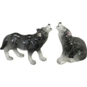 Howling Wolf Wild Animals Salt Pepper Shakers S/P Set Andrea by Sadek