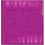 MBI Embossed Gloss Expressions Photo Album 200 Pkt 8 3/4'X9 1/2' Live, Love, Laugh Bright Purple