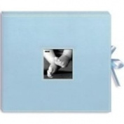 30.5cm X30.5cm Sewn 3-Ring Frame Scrapbook Box with Ribbon Closure - Baby Blu