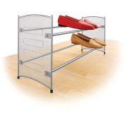 Lynk 146102DS Expandable/Stackable Mesh Sided Shoe Rack, Platinum