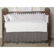 BELLACOR DRCW255A Red Lines and Off White Plaid Fabric Dust Ruffle Crib