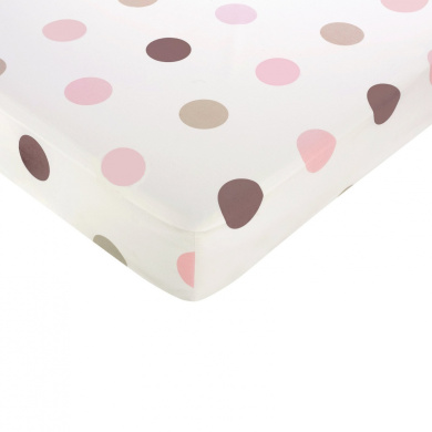 Pink and Chocolate Mod Dots Fitted Crib Sheet - Large Dot Print