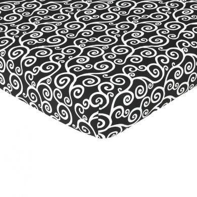 JoJo Designs Kaylee Collection Crib Sheet - Black & White Scroll Print