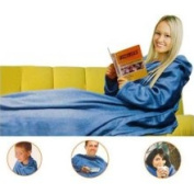 Blue Cuddle Blanket Sleeve - Large Fleece Cover with Pockets
