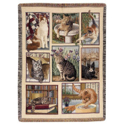 Manual Woodworkers & Weavers Kitty Corner Cat Tapestry Throw Blanket