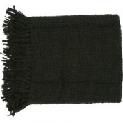 Woven Ric Acrylic and Wool Solid Black Throw Blanket