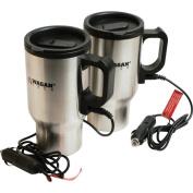 Wagan Corporation 2227-1 SLV 2 Count 16 Oz Stainless Steel Heated Travel Mug