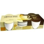 Zrike Set of 4 White Ceramic Espresso Cups and Saucers
