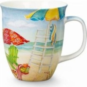 Cape Shore Beach Umbrellas Adirondack Chairs Coffee Latte Mug