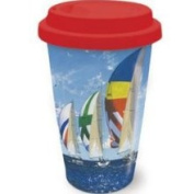 Cape Shore Coastal Afternoon Sail Sailboats Coffee Latte Tea Ceramic Travel Mug with Lid