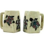 Creative Structures One 1 Mara Stoneware Collection - 350ml Coffee Cup Collectible Square Bottom Dinner Mug - Desert Turtle Design