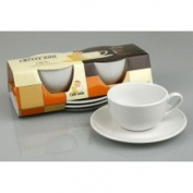 Konitz Coffee Bar White Mugs/ Saucers (Set of 2) (Konitz Coffee Bar Mugs/Saucers