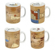 Konitz 4413302062 Science Mugs-Physics Math Chemistry and History - Set of 4
