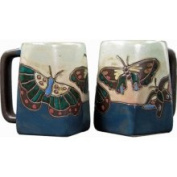 Creative Structures Set of Two 2 Mara Stoneware Collection - 350ml Coffee Cup Collectible Square Dinner Mugs - Butterflies / Blue Design