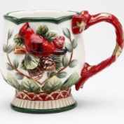 Stealstreet Set of 4 Elegant Evergreen Holiday Mug with Red Cardinal Collectible