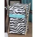 JoJo Designs Turquoise Funky Zebra Laundry Hamper
