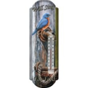 Rivers Edge 1375 Bluebird Tin Thermometer Will Sing for Food