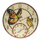 Taylor 91019 35.6cm Poly Resin Mosaic Butterflies Clock with Thermometer