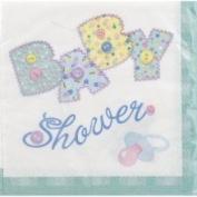 Unique Napkins, Beverage, Pastel Baby Stitching, 2 Ply - 16 napkins