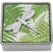 Mariposa Beaded Napkin Box with Dragonfly Weight
