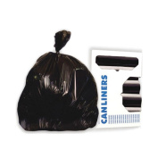 High-Density Waste Can Liners, 38 x 58, 60 gal, 17 Microns, Black